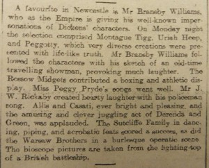 Derenda and Green Article Newcastle Weekly Journal and Courant 31 July 1909 - From Newcastle Central Library